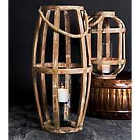 Tall Distressed Rope Handle Lantern