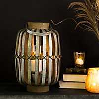 Brown Wood and Galvanized Metal Lantern
