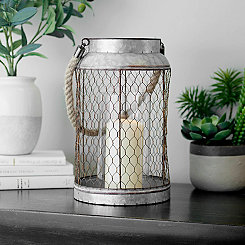 Metal Chicken Wire Rope Handle Lantern