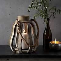 Pear Shaped Distressed Wooden Lantern