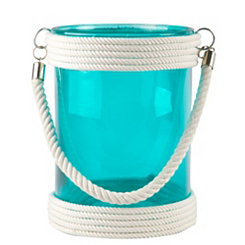Short Turquoise St. Bart Glass Lantern