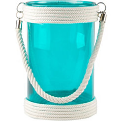 Tall Turquoise St. Bart Glass Lantern