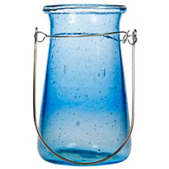 Blue Milos Bubble Glass Lantern