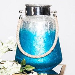Geometric Blue Ombre Thiva Glass Lantern