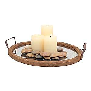 Mirrored Wood Oval Tray