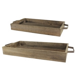 Rustic Wood Trays with Metal Handles, Set of 2