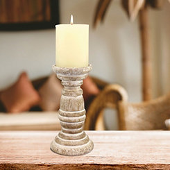 Distressed Turned Wood Candle Holder, 8 in.