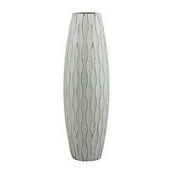Blue Wave Wood Vase, 11.8 in.