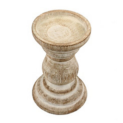 Distressed Turned Wood Candle Holder, 6 in.