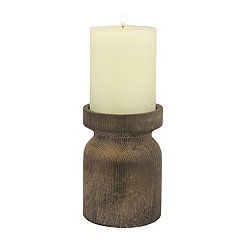 Rustic Turned Wood Candle Holder, 5 in.