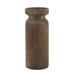 Rustic Turned Wood Candle Holder, 9 in.