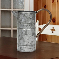 Galvanized Metal Watering Can with Rust Handle