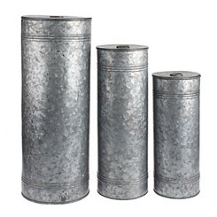 Galvanized Metal Canisters, Set of 3