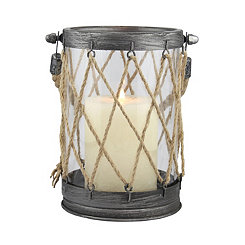 Zinc and Twine Lantern, 7.2 in.