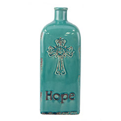Turquoise Hope Embossed Vase, 12 in.