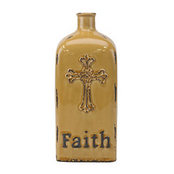 Amber Faith Embossed Vase, 12 in.