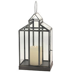 Glass Barn Distressed Black Metal Lantern