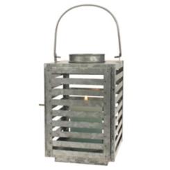 Antique Galvanized Slatted Metal Lantern