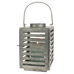 Antique Galvanized Slatted Metal Lantern