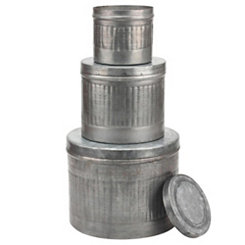 Round Galvanized Metal Canisters, Set of 3