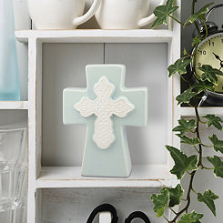 Pale Blue Ceramic Cross