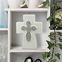 White and Gray Ceramic Cross