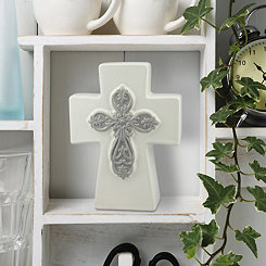 White and Gray Ceramic Cross