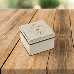 Fleur-de-Lis Worn White Ceramic Decorative Box