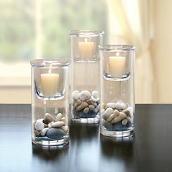 Glass Hurricane with Votive Holders, Set of 3