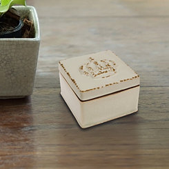 Crown Worn White Ceramic Decorative Box