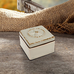 Western Star Worn White Ceramic Decorative Box