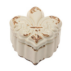 Fleur-de-Lis Shaped White Ceramic Decorative Box