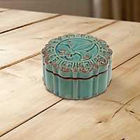 Fleur-de-Lis Round Turquoise Decorative Box