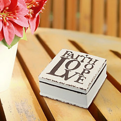 Faith Love Hope White Ceramic Decorative Box