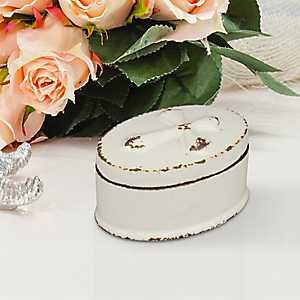 Oval Cross Worn White Ceramic Decorative Box