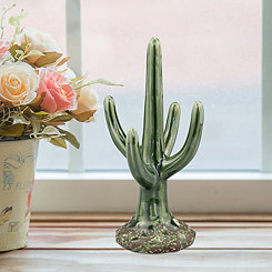 Green Ceramic Glazed Cactus Statue