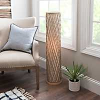 Linen and Rope Cylinder Floor Lamp