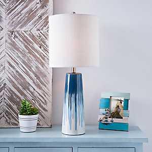 Indigo Drip Ceramic Table Lamp
