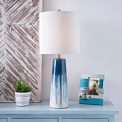 Indigo Drip Ceramic Table Lamp