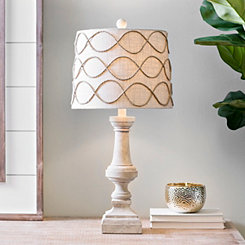 Graywashed Table Lamp with Rope Trim Shade