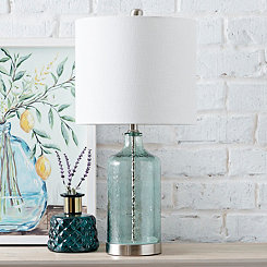 Crackled Blue Sea Glass Table Lamp