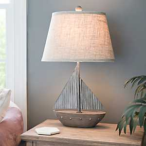 Galvanized Sail Boat Table Lamp