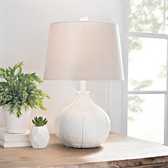 Distressed White Leaf Textured Table Lamp