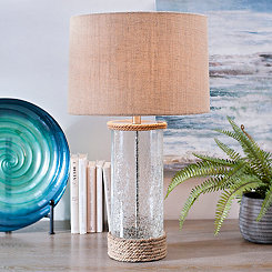 Crackled Glass and Rope Table Lamp