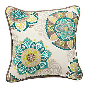 Turquoise Suzani Outdoor Pillow