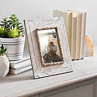 Whitewash Wood Rope Picture Frame, 4x6