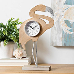 Standing Flamingo Wood Tabletop Clock