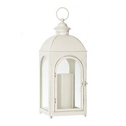 Cream Fortune Metal Lantern, 19 in.