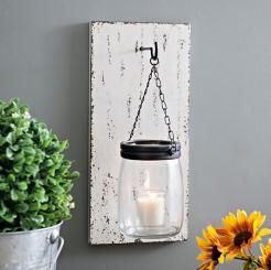 Wood Slat and Mason Jar Wall Sconce
