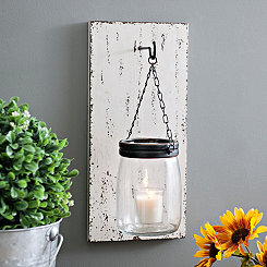 Wood Slat and Mason Jar Wall Sconce